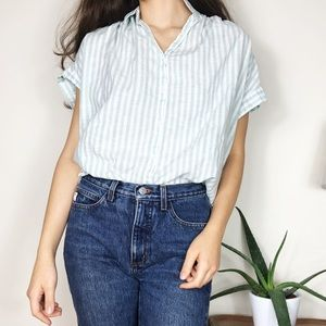 Madewell Coastal Shirt Mint Stripe Button Down